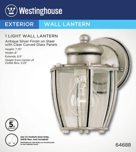 One-Light Outdoor Wall Lantern, Antique Silver Finish on Steel with Clear Curved Glass - Lighting Getz