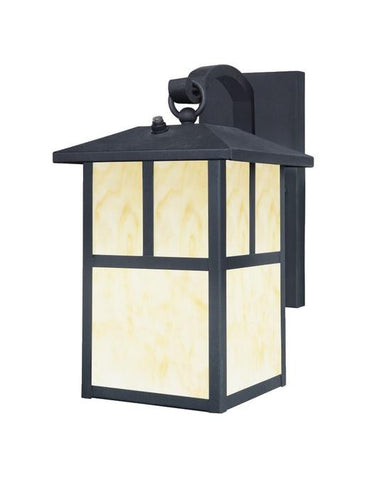 One-Light Outdoor Wall Lantern with Dusk to Dawn Sensor, Textured Black Finish on Steel with Honey Art Glass Panels