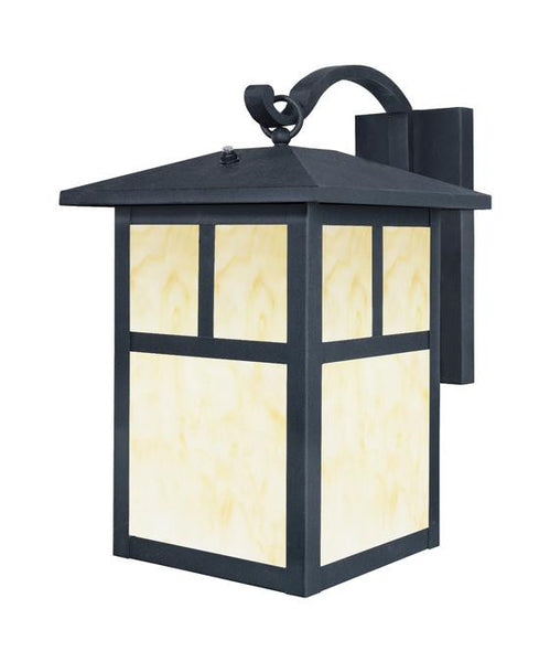 One-Light Outdoor Wall Lantern with Dusk to Dawn Sensor, Textured Black Finish on Steel with Honey Art Glass Panels - Lighting Getz