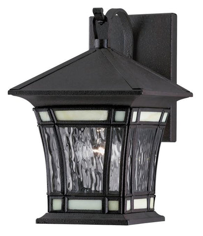 One-Light Outdoor Wall Lantern, Textured Rust Patina Finish on Solid Brass and Steel with Water Glass and Tiffany Accents