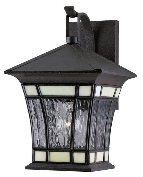One-Light Outdoor Wall Lantern, Textured Rust Patina Finish on Solid Brass and Steel with Water Glass and Tiffany Accents - Lighting Getz