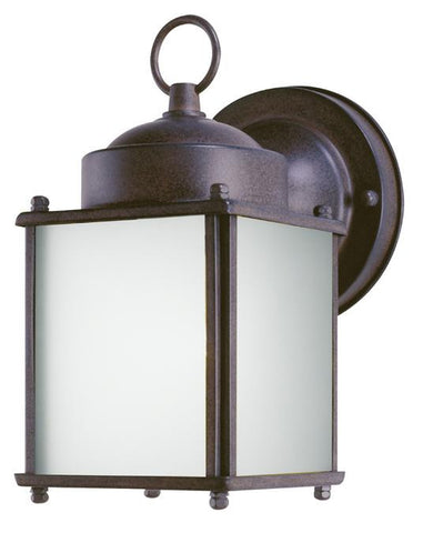 One-Light Outdoor Wall Lantern with Dusk to Dawn Sensor, Sienna Finish on Steel with Frosted Glass Panels
