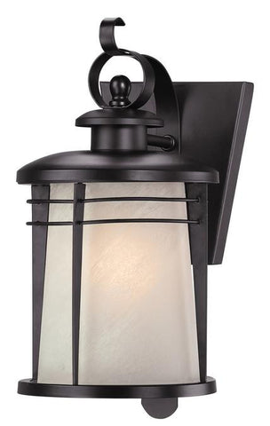 Senecaville One-Light Outdoor Wall Lantern, Weathered Bronze Finish on Steel with White Alabaster Glass