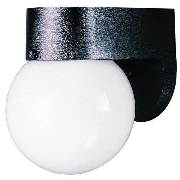 One-Light Outdoor Wall Lantern, Black Finish on Hi-Impact Polycarbonate with White Glass Globe - Lighting Getz