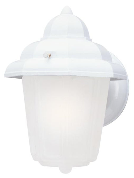 One-Light Outdoor Wall Lantern, Textured White Finish on Cast Aluminum with Frosted Glass - Lighting Getz