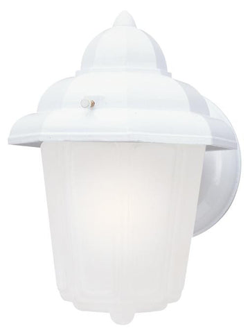 One-Light Outdoor Wall Lantern, Textured White Finish on Cast Aluminum with Frosted Glass