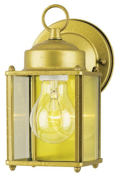 One-Light Outdoor Wall Lantern, Goldenrod Finish on Steel with Clear Glass Panels - Lighting Getz