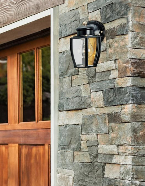 One-Light Outdoor Wall Lantern, Matte Black Finish on Steel with Clear Curved Glass Panels - Lighting Getz