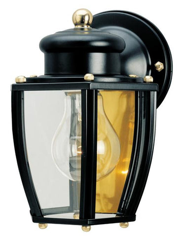 One-Light Outdoor Wall Lantern, Matte Black Finish on Steel with Clear Curved Glass Panels