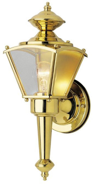 One-Light Outdoor Wall Lantern, Polished Brass Finish on Steel with Clear Glass Panels - Lighting Getz