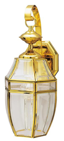One-Light Outdoor Wall Lantern, Polished Brass Finish on Steel with Clear Curved Beveled Glass Panels - Lighting Getz