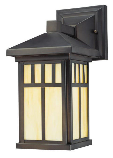 Burnham One-Light Outdoor Wall Lantern, Oil Rubbed Bronze Finish with Honey Art Glass - Lighting Getz