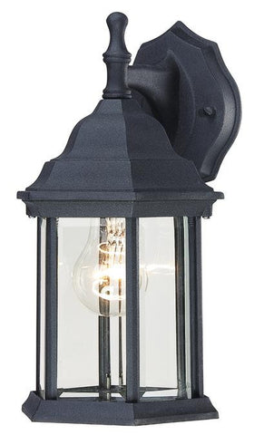 One-Light Outdoor Wall Lantern, Textured Black Finish on Cast Aluminum with Clear Beveled Glass Panels