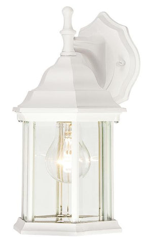 One-Light Outdoor Wall Lantern, Textured White Finish on Cast Aluminum with Clear Beveled Glass Panels