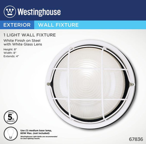 One-Light Outdoor Wall Fixture, White Finish on Steel with White Glass Lens - Lighting Getz