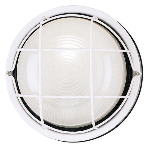 One-Light Outdoor Wall Fixture, White Finish on Steel with White Glass Lens