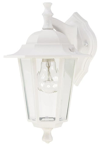 One-Light Outdoor Wall Lantern, Textured White Finish on Cast Aluminum with Clear Glass Panels