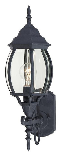 One-Light Outdoor Wall Lantern, Textured Black Finish on Cast Aluminum with Clear Curved Beveled Glass Panels - Lighting Getz
