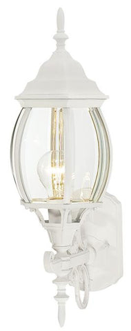 One-Light Outdoor Wall Lantern, Textured White Finish on Cast Aluminum with Clear Curved Beveled Glass Panels