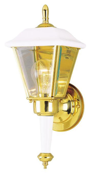 One-Light Outdoor Wall Lantern, White Finish on Steel with Polished Brass Accents with Clear Beveled Glass Panels - Lighting Getz