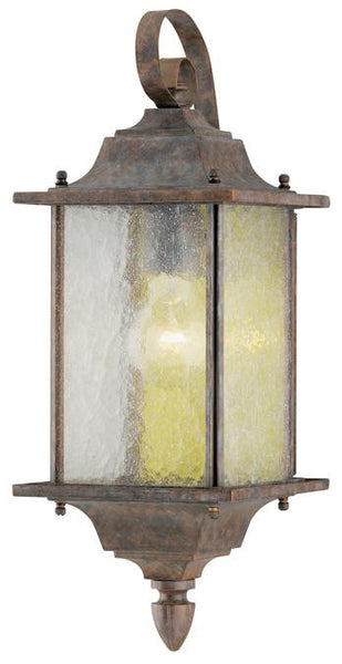 One-Light Outdoor Wall Lantern, Burnt Sienna Finish on Aluminum with Clear Seeded Glass Panels - Lighting Getz
