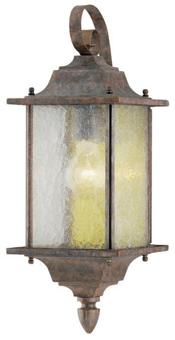 One-Light Outdoor Wall Lantern, Burnt Sienna Finish on Aluminum with Clear Seeded Glass Panels