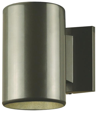 One-Light Outdoor Wall Fixture Polished Graphite Finish on Steel Cylinder