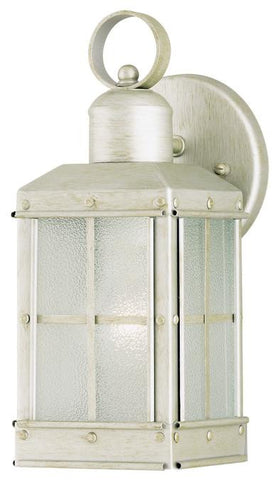 One-Light Outdoor Wall Lantern, Pewter Patina Finish on Steel with Ice Glass Panels