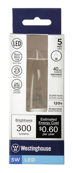 5 Watt (Replaces 40 Watt) Torpedo B11 Dimmable LED Light Bulb, 2700K Warm White E26 (Medium) Base, 120 Volt, Hanging Box - Lighting Getz