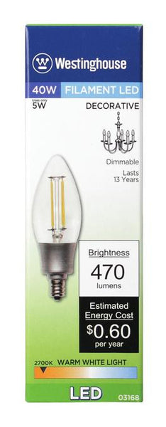 5 Watt (Replaces 40 Watt) Decorative B11 Torpedo Dimmable Filament LED Light Bulb, 2700K Warm White E12 (Candelabra) Base, 120 Volt, Box - Lighting Getz