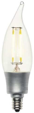 5 Watt (Replaces 40 Watt) Decorative CA10 Flame Tip Dimmable Filament LED Light Bulb, 2700K Warm White E12 (Candelabra) Base, 120 Volt, Box