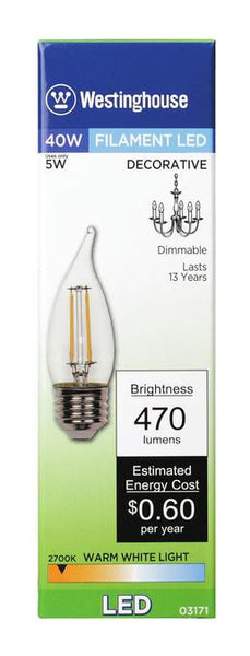 5 Watt (Replaces 40 Watt) Decorative CA10 Flame Tip Dimmable Filament LED Light Bulb, 2700K Warm White E26 (Medium) Base, 120 Volt, Box - Lighting Getz