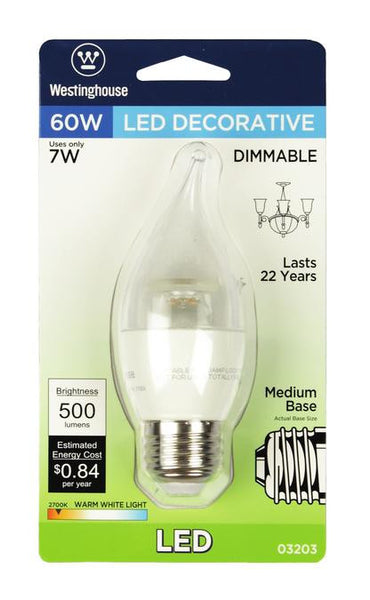 7 Watt (Replaces 60 Watt) Flame Tip CA13 Dimmable LED Light Bulb, ENERGY STAR, 2700K Warm White E26 (Medium) Base, 120 Volt, Card - Lighting Getz