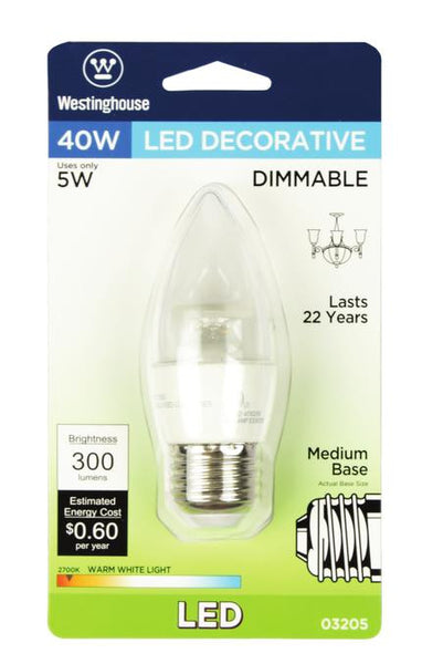 5 Watt (Replaces 40 Watt) Torpedo B11 Dimmable LED Light Bulb, ENERGY STAR, 2700K Warm White E26 (Medium) Base, 120 Volt, Card - Lighting Getz