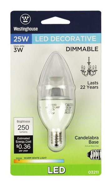 3 Watt (Replaces 25 Watt) Torpedo B10 Dimmable LED Light Bulb, ENERGY STAR, 3000K Warm White E12 (Candelabra) Base, 120 Volt, Card - Lighting Getz