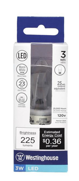 3 Watt (Replaces 25 Watt) Torpedo B10 Dimmable LED Light Bulb, ENERGY STAR, 3000K Warm White E26 (Medium) Base, 120 Volt, Box - Lighting Getz