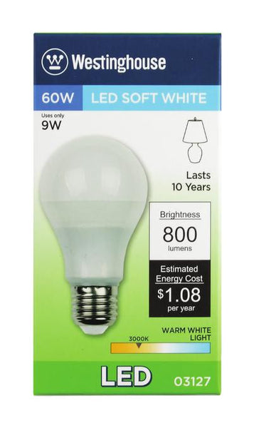 9 Watt (Replaces 60 Watt) Omni A19 LED Light Bulb, 3000K Warm White E26 (Medium) Base, 120 Volt Box - Lighting Getz