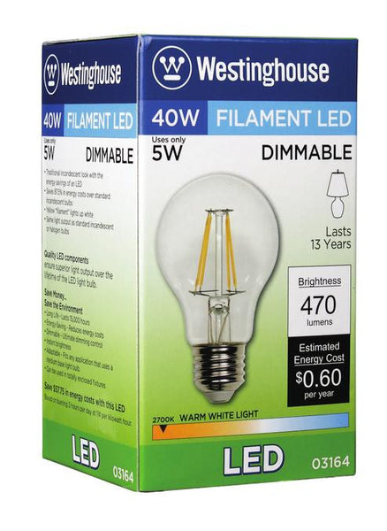 5 Watt (Replaces 40 Watt) A19 Dimmable Filament LED Light Bulb, 2700K Warm White E26 (Medium) Base, 120 Volt, Box - Lighting Getz
