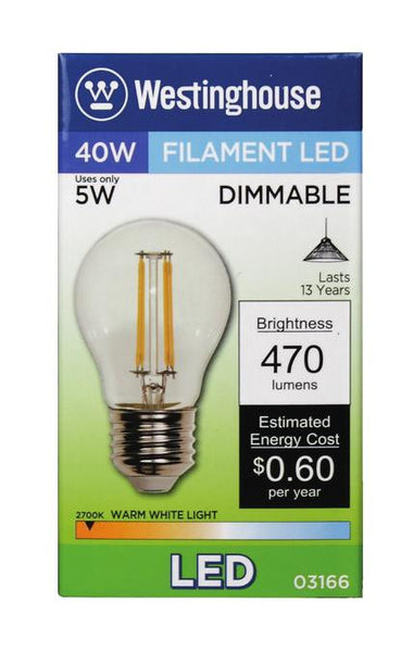 5 Watt (Replaces 40 Watt) A15 Dimmable Filament LED Light Bulb, 2700K Warm White E26 (Medium) Base, 120 Volt, Box - Lighting Getz