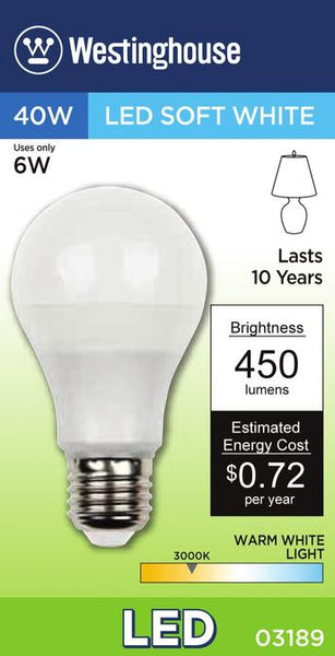 6 Watt (Replaces 40 Watt) Omni A19 LED Light Bulb, 3000K Warm White E26 (Medium) Base, 120 Volt Box - Lighting Getz