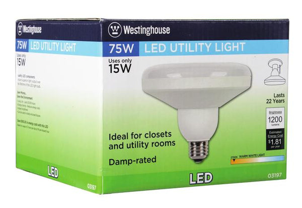 15 Watt (Replaces 75 Watt) DLR46 Utility LED Light Bulb, 2700K Warm White E26 (Medium) Base, 120 Volt, Box - Lighting Getz