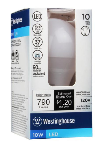 10 Watt (Replaces 60Watt) Omni Dimmable LED Light Bulb, 2700K Warm White E26 (Medium) Base, 120 Volt Box - Lighting Getz