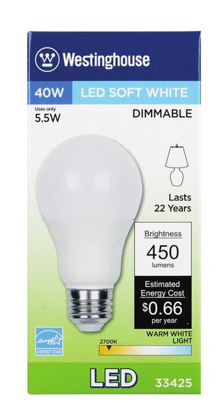 5-1/2 Watt (Replaces 40 Watt) Omni A19 Dimmable LED Light Bulb, ENERGY STAR, 2700K Warm White E26 (Medium) Base, 120 Volt Box - Lighting Getz