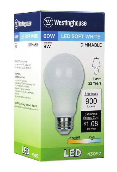 9 Watt (Replaces 60 Watt) Omni A19 Dimmable LED Light Bulb, 5000K Daylight E26 (Medium) Base, 120 Volt Box - Lighting Getz