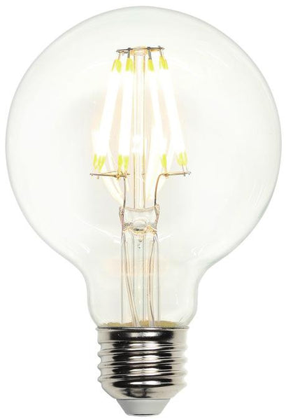 7-1/2 Watt (Replaces 60 Watt) G25 Globe Dimmable Filament LED Light Bulb, 2700K Warm White E26 (Medium) Base, 120 Volt, Box - Lighting Getz