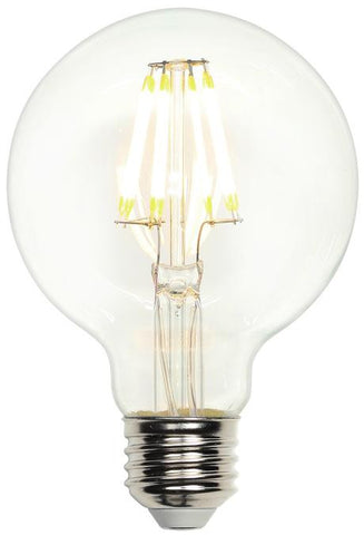 7-1/2 Watt (Replaces 60 Watt) G25 Globe Dimmable Filament LED Light Bulb, 2700K Warm White E26 (Medium) Base, 120 Volt, Box