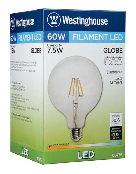 7-1/2 Watt (Replaces 60 Watt) G40 Globe Dimmable Filament LED Light Bulb, 2700K Warm White E26 (Medium) Base, 120 Volt, Box - Lighting Getz