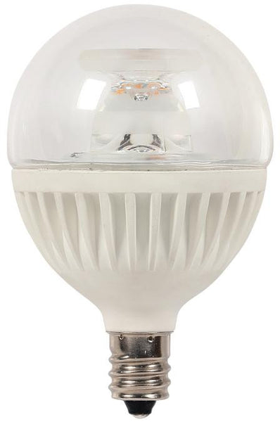 7 Watt (Replaces 60 Watt) Globe G16-1/2 Dimmable LED Light Bulb, ENERGY STAR, 2700K Warm White E12 (Candelabra) Base, 120 Volt, Card - Lighting Getz