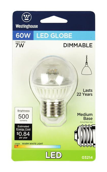 7 Watt (Replaces 60 Watt) Globe G16-1/2 Dimmable LED Light Bulb, ENERGY STAR, 2700K Warm White E26 (Medium) Base, 120 Volt, Card - Lighting Getz