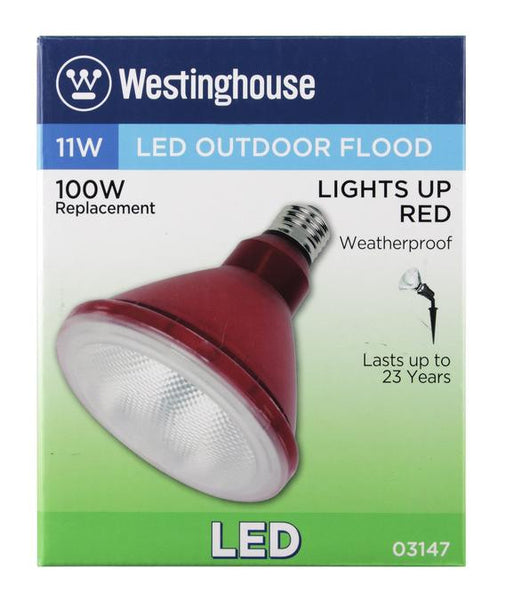 11 Watt (Replaces 100 Watt) PAR38 LED Outdoor Flood Light Bulb, Weatherproof, Red E26 (Medium) Base, 120 Volt Box - Lighting Getz